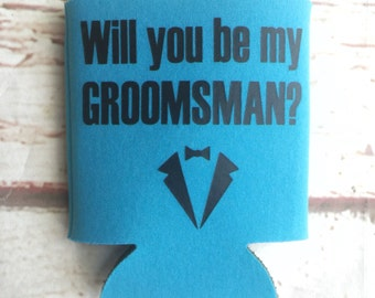 Groomsmen Proposal Gift - Groomsman Can Coolers  - Wedding Party Proposal - Bachelor Party Gifts - Groomsman Gifts
