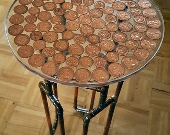 Retro Vintage Copper Penny Side Table Upcycled