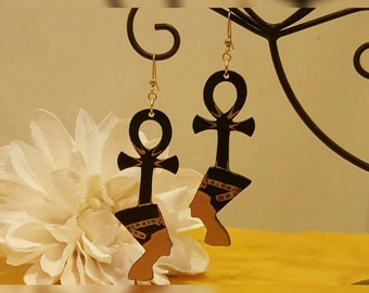 Afrocentric Handpainted Wooden Nefertiti Earrings with Ankh