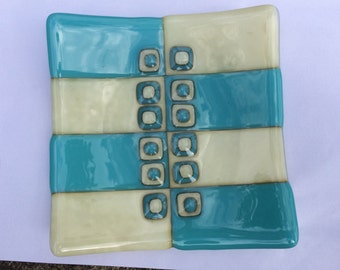 Turquoise and vanilla fused glass bowl