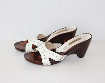 White Leather Clogs White Sliders Women's Summer Shoes Slingback Slip On Sandals Metal Studs Faux Wooden Platforms Sole EUR 39 UK 6 US 8
