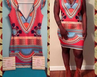 Tribal  print fitted dress