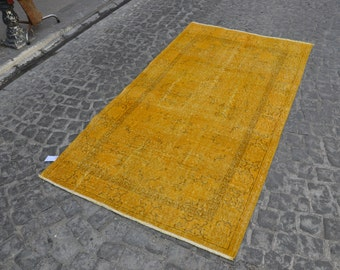 Yellow turkish rug,recolored hand made carpets,interiour carpets,wool rugs,interiour rug '6.6x'3.7 ft