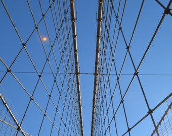 Looking up from the Brooklyn Bridge