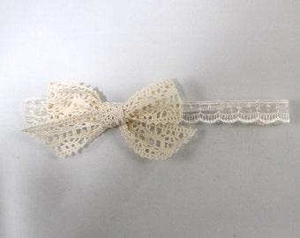 Missy - children's lace bow on vintage cream ribbon headband