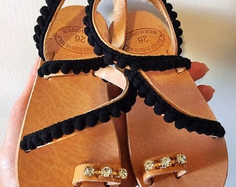 Leather Sandals Girls, Black Sandals Girls, Made in Athens, Greece by Christina Christi Jewels.