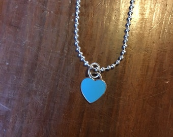 925 Silver blue enamel charms necklace