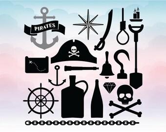 Pirates clipart, Pirate svg set, Captain hook vector, Silhouette files, Cricut designs, Eps Dxf Svg Pdf Png cut files
