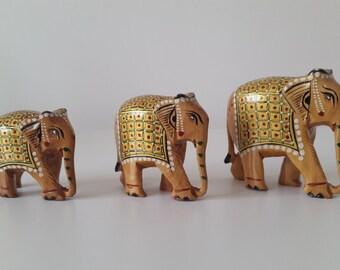 Decorative Wooden Hand Painted Elephants (Set of 3) - Bespoke Gift