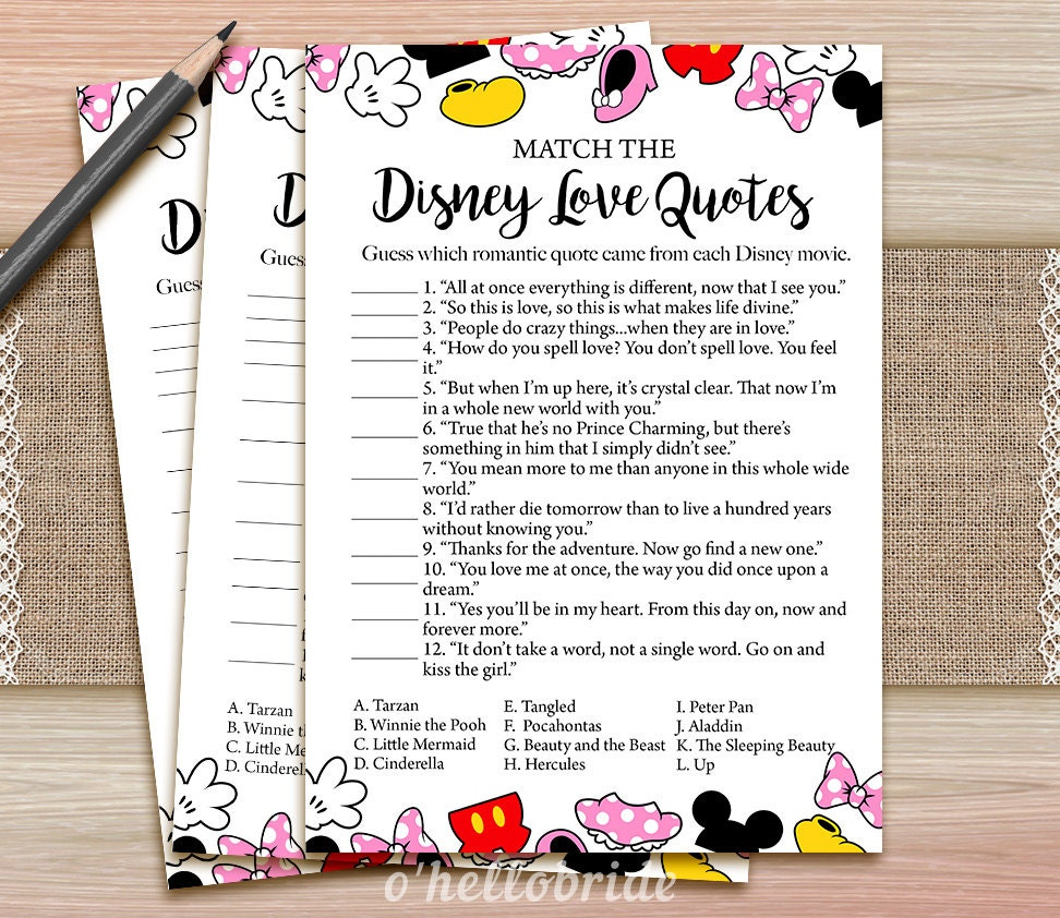 Disney Love Quotes Match Game Printable Disney Bridal Shower