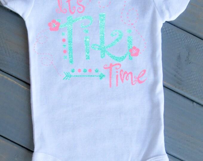 It's Tiki Time Bodysuit, Cute Girls' Clothing, Baby Bodysuit, Beach Baby, Trendy Kids' Clothes, Beach Kid