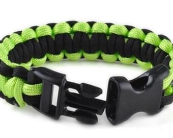 Paracord Bracelet - Black & Neon Green