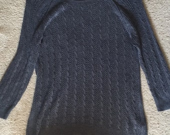 Embroidered dark gray sweater