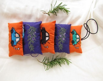 Embroidered Car Air Freshener Sachet with Rosemary