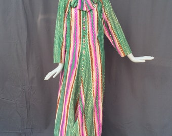 Vtg 60s 70s striped glam hostess caftan gown dress gold lurex maxi