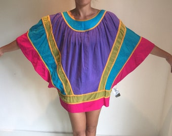 vtg 70s 80s Bill Tice rainbow cotton colorblock quilted batwing kimono dress top tunic coverup