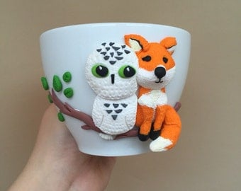 Mug polymer clay / Fox OWL mug