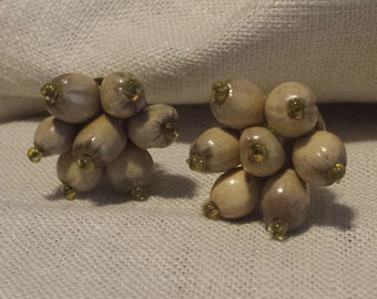 Vintage Wooden Seed Clip on Cluster Earrings