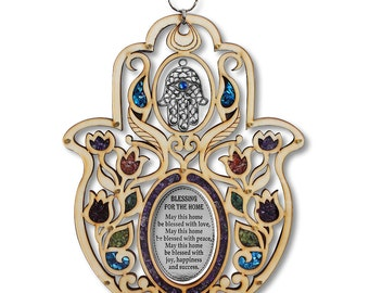 Large Wooden Hamsa Blessing for the Home - in English - Good Luck Wall Decor with Simulated Gemstones