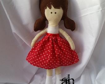 Textile Doll | Felt Doll | Fabric Doll | Soft Doll | Rag Doll | Cloth Doll | Soft Toy | Plush Toy | Polka Dots Red and White | Spring Dolls