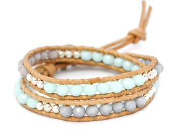 Elephant Wrap Bracelet, Lucky Elephant Leather Wrap Bracelet, Good Luck Bracelet, Leather Bracelet, Beaded Bracelet, Wrap Bracelets, Lucky