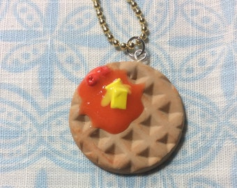 Strawberry Waffle Charm, Waffle Jewelry, Polymer Clay Waffle Charm, Miniature Waffle With Strawberries, Breakfast Food Charm
