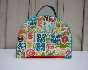 Organic Insulated Lunch Bag | Back to School Lunch Box | Insulated Lunch Bag | Gemser neutral motif | Organic fabric