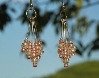Beaded Light Pink or Choice Chandelier Dangle Earrings On Silver