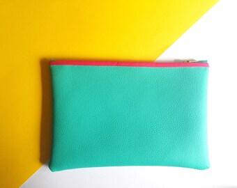 Medium Turquoise Leatherette Bag