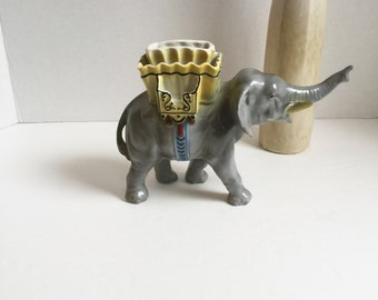 Sale 30% Off, Ceramic Elephant Cigarette and Match Holder Gray Yellow Blue