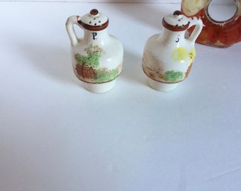 Vintage Hand Painted Salt and Pepper Shaker Jugs Made in Japan