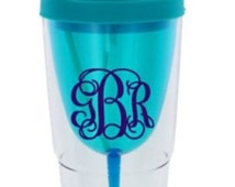 Monogrammed Blue Double Wall Wine Tumbler with Straw