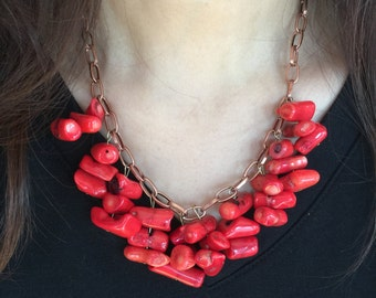 Red Coral Beads with copper chain