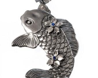 "Sterling silver ""Koi"" pendant."