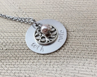 Mothers personalized necklace - grandmother - children necklace - hand stamped silver necklace