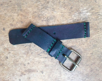 Handmade 24mm Leather Watch Strap with Waxed Thread
