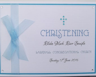 Stunning Personalised Boys Blue Gems Cross Christening Card
