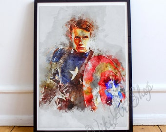 Captain America, Poster Watercolor Art , Captain America Watercolor Illustration, Marvel Comics Art Poster, Wall art print, Kinds Room