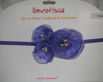 Floral organza headband- Soft and delicate lavendar organza headband with flowers and crystal detail
