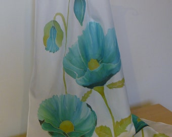Silk scarf - Turquoise poppies