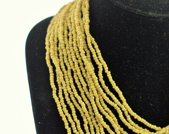 Vintage Beaded Necklace Multistrand in Chartruse