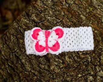 Baby Girl Crochet Headband, Crochet Headband, Butterfly headband