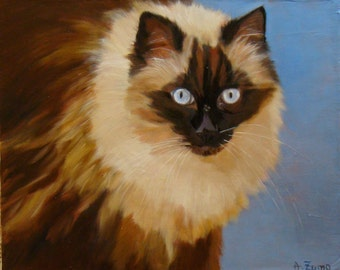 Ragdoll, portrait of cat, original oil painting by Anne Zamo