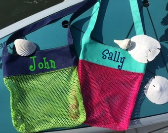 PINK OR GREEN Shell Totes with Personalization - Perfect for any collections!  Just in Time for Vacation!  Quick Ship!