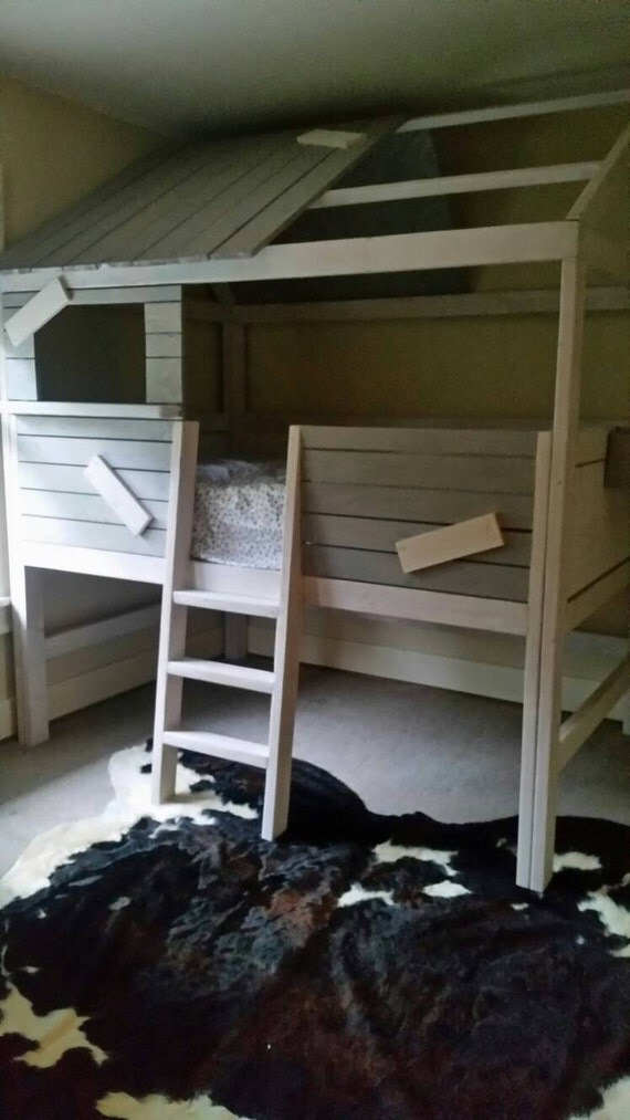 Cabin Style Loft Bed By Upcyclealleydesign On Etsy