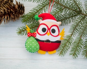 Santa ornament Christmas tree decor Felt owl Christmas bauble