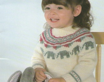5e16c9b2e78 Childrens Elephant Motif Sweater PDF Knitting Pattern   Boy or Girl 21