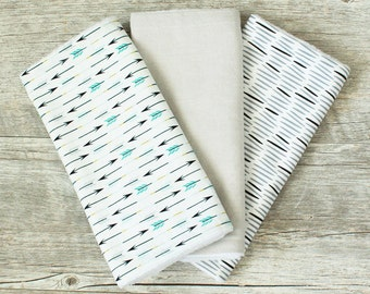 Arrows Tribal Burp Cloth Set - Gender Nuetral - Set of 3, Arrows and Dashes - Organic Cotton - Tribal