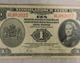 EEN Nederlandsch-Indische Satoe Roepiah Wettig Betaalmiddel 1943