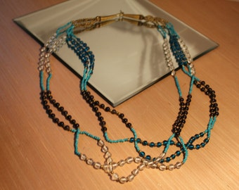 Blue Purple White GLASS BEAD Vintage Necklace Multi Strand [AG-57] **Clearance Priced**